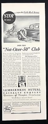 1937 Vintage Print Ad 1930s LUMBERMEN'S Mutual Casualty Insurance Automobile