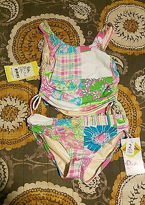 NEW Lilly Pulitzer Girls Size 12 2 Piece Tankini Bathing Suit Pink White $72