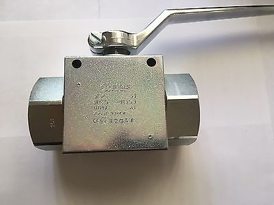 "3/8"" High Pressure Hydraulic 2 Way Steel Ball Valve 500 Bar/7250 PSI BSPP Ports"