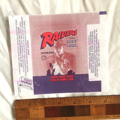 Scanlens Raiders Of The Lost Ark Indiana Jones Wax Bubble Gum Card Wrapper Vgc!