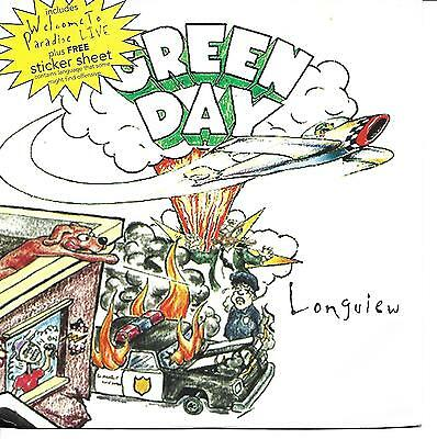 "Green Day 7"" vinyl single record Longview + Sticker Sheet UK WO287X"