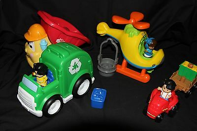 Fisher Price Little People Helicopter/Garbage Truck/Tractor - Eltham