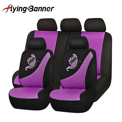 NEW Car Seat Covers set low back Universal Flying banner Breathable purple femal
