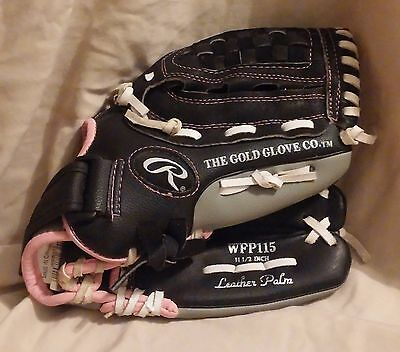 """RAWLINGS FASTPITCH Girls Softball Glove RHT Leather Palm 11.5"""",WFP115  Color Pin"""