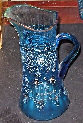 Antique Victorian Hand Painted Blue Glass Tall Pitcher