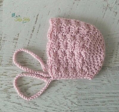 Dusty Pink Vintage Crochet Knitted Baby Bonnet Beanie Hat Photo Prop