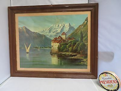 Black forest German lake décor frame print mid century bauhaus décor modernist