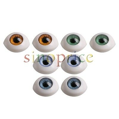 8pcs Oval Hollow Back Exquisite Lifelike Plastic Eyes For Doll Mask DIY 4 Color
