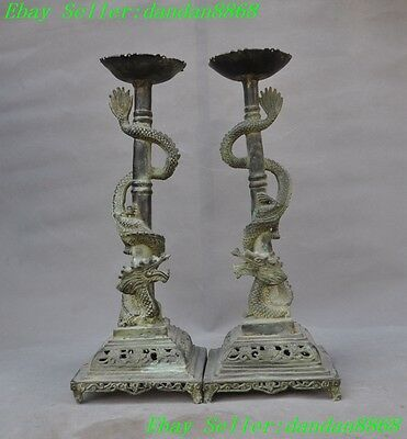 "15"" Old chinese fengshui bronze double 2 Dragon statue Flower Candlestick pair"