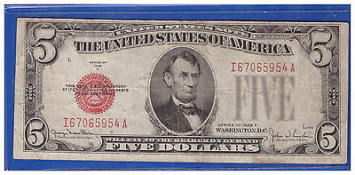 1928F $5 Dollar Bill Old Us Note Legal Tender Paper Money Currency Red Seal M905