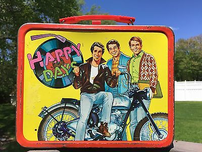 Vintage 1970's Happy Days Metal Lunch Box 1976 Thermos Brand