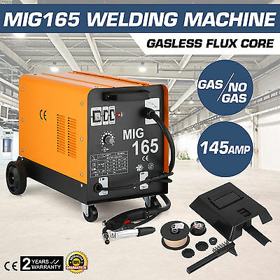 Mig165 Gasless Flux Core Welding Machine Professional Commercial Dual Gas/No Gas