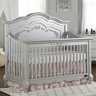 Baby 5-in-1 Convertible Crib Gold Dust Wood Feminine Fairytale Toddler Ful Size