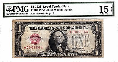 1928 $1 Legal Tender (Red Seal) Star Note PMG 15 CH Fine net