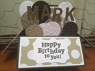 Male / Female Handmade card in a box, Birthday Balloons personalised Stampin Up