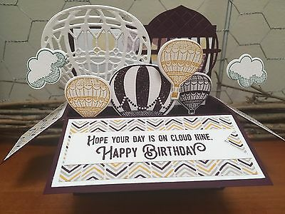 Birthday Handmade card in a box,  personalised Stampin Up, hot air balloon
