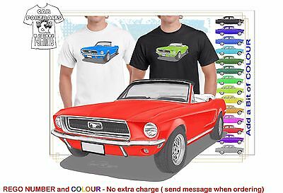 Classic 68 Mustang Convertible Illustrated T-Shirt Muscle Retro Sport Car