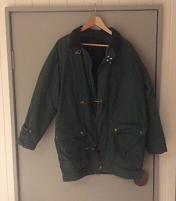 Lacoste Vintage Bottle Green Winter Lined Jacket Zip Sz L /XL GUC Made In France