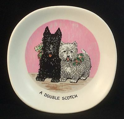 Weatherby Hanley Falcon Ware Scotty Dog Black & White Double Scotch Plate Dish