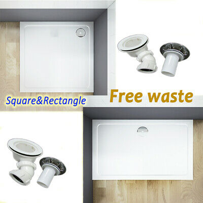 30mm Height Square Rectangle Stone Tray+Waste For Shower Enclosure Door Cubicle