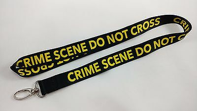 Crime Scene Do Not Cross black Lanyard/Keychain, New, FAST FREE SHIPPING