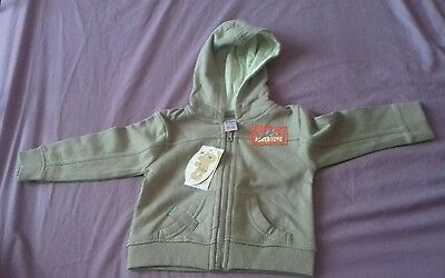 BNWT Baby/Toddler Green Khaki Long sleeve Hoodie Jumper Age 9-12 months