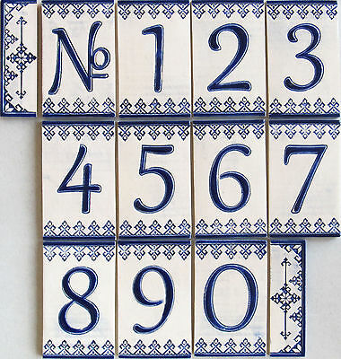 Handmade Ceramic House Number tiles digits and letters - small size