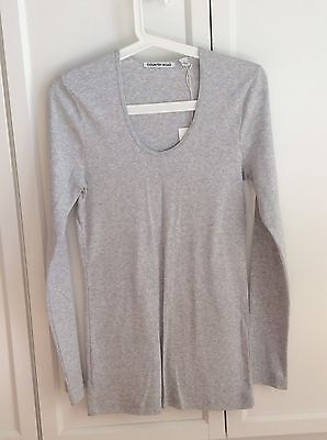 New Country Road Grey cotton Top Blouse T Shirt Long sleeve size M