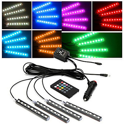 4pc 9LED Colorful RGB Remote Control Car Interior Floor Atmosphere Light Strip G
