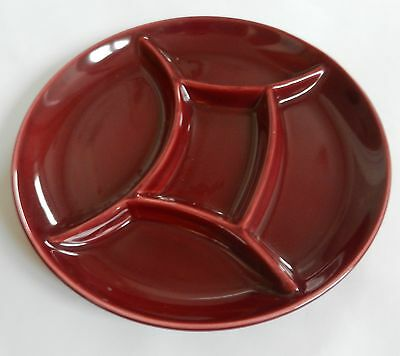 Four Dark Red/Mauve French Ceramic Fondue Plates