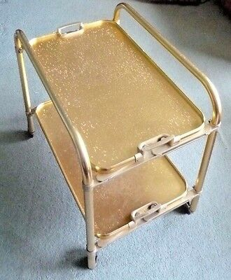 Vintage Folding Lumium Gold Coloured Hostess or Tea Trolley - Made in England
