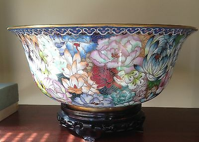Chinese Cloisonne Flower Patterned Bowl - Large