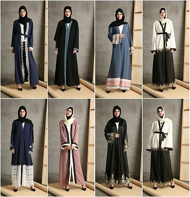 Dubia Women Cardigan Open Front Abaya Jilbab Muslim Islamic Long Maxi Dress Robe