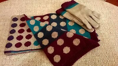 Marks and Spencer grey spotted scarf and glove set