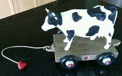 Collectible China Cow Figurine Farm Cart Black White Animal Present Gift Ceramic
