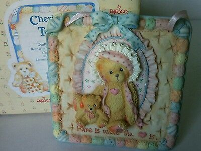 Cherished Teddies Quilts of Friendship Bear China Figurine Teddy Wall Plaque