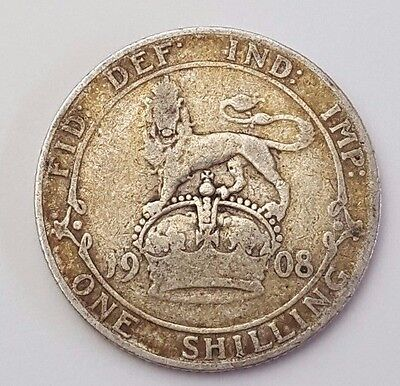 Dated : 1908 - Silver Coin - One Shilling - King Edward VII - Great Britain Rare