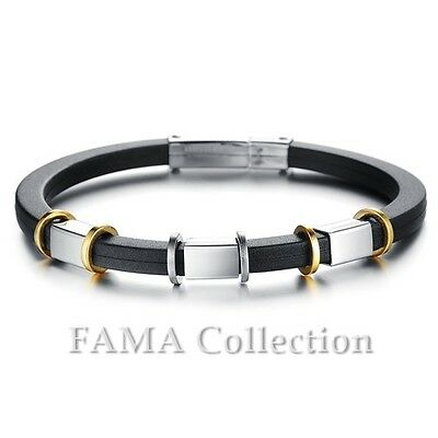 Stylish FAMA Double Black Leather Bracelet with Gold IP Stainless Steel Beads