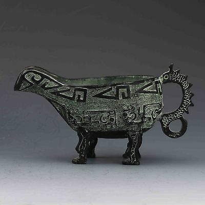 Chinese Bronze Hand Carved Dragon Wine Goblet Cup
