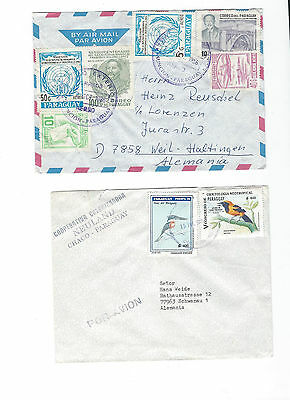 6 covers + 6 First Day Cover from Paraguay to .... see scans and details.