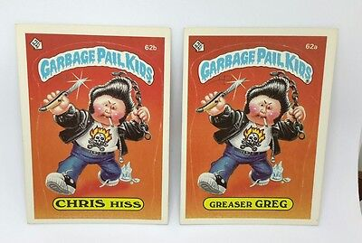 "Garbage Pail Kids set of two cards: ""GREASER GREG/CHRIS HISS"" 1985 TOPPS USA"