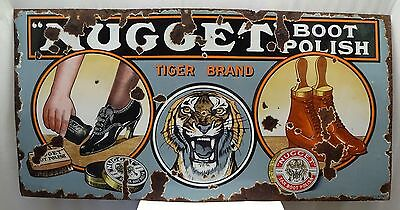 Antique Sign Board Nugget Boot Polish Tiger Brand Vintage Enamel Porcelain Sign