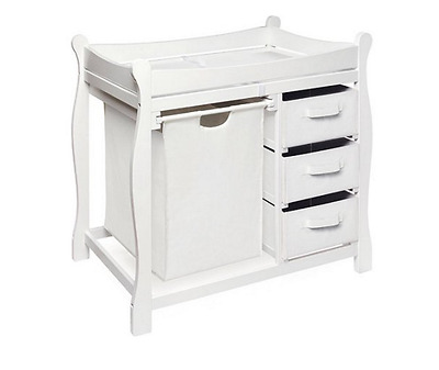 Superieur Diaper Changing Table Baby Furniture Nursery Infant Station Hamper Basket  White