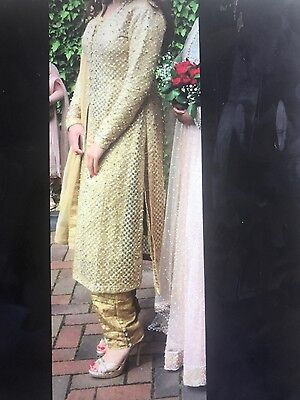 asian indian ladies gold wedding suit sari size 8 / 10