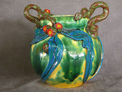 Australiana ware Medium Handle vase with gumnuts and leaves applied.by David Lyo