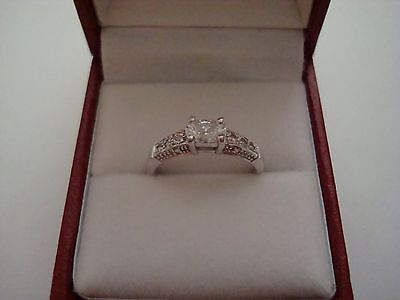 Hallmarked 9Ct White Gold Solitaire Plus Accents Engagement Ring Size N