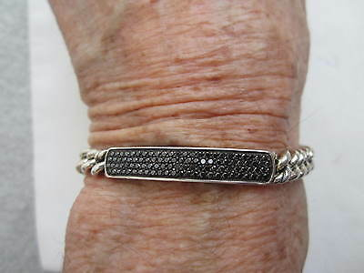 "David Yurman Black Pave Diamond 6mm Sterling Chain ID Bracelet 6 3/4"" $1,450"