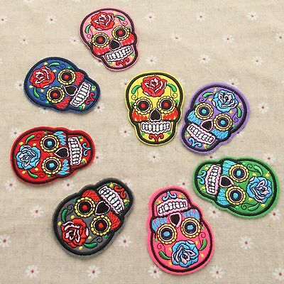 Skull Iron On Sew On Patches Badge Fabric Applique Embroidered Clothes Craft DIY