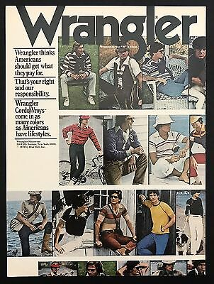 1978 Vintage Print Ad 1970s WRANGLER JEANS Men's Fashion Style Pants