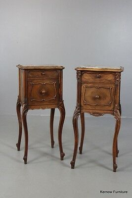 Pair Antique Walnut Marble Top French Bedside Cabinets Tables